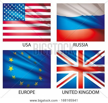 Flags of the world. American Flag for Independence Day. Flags waving in the wind. Set of world flags. Vector illustration.