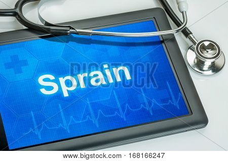 Tablet With The Diagnosis Sprain On The Display