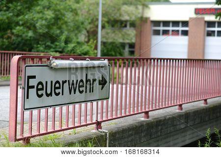 Photo with German fire brigade station in Hamburg.