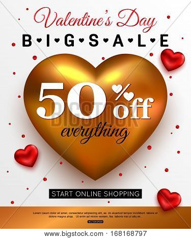 Valentines Day sale banner template. Vector illustration.