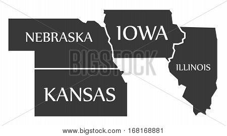 Nebraska - Kansas - Iowa - Illinois Map Labelled Black