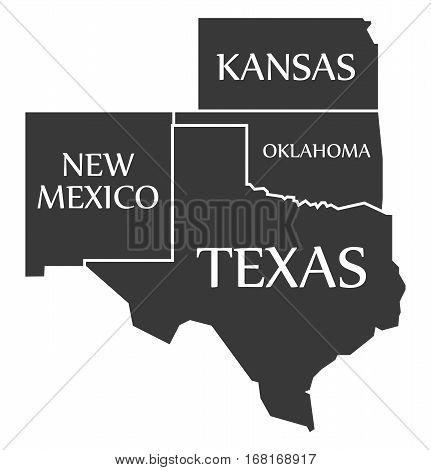 New Mexico - Kansas - Oklahoma - Texas Labelled Black