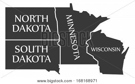 North Dakota - South Dakota - Minnesota - Wisoncsin Labelled Black