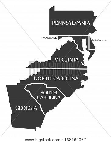Pennsylvania - Maryland - Delaware - Virginia - North And South Carolina - Georgia Map Labelled Blac