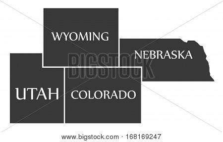Utah - Wyoming - Colorado - Nebraska Map Labelled Black