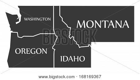 Washington - Oregon - Idaho - Montana Map Labelled Black