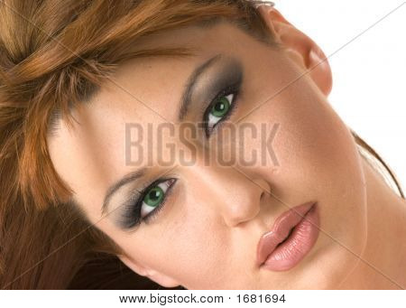 Beautiful Redheaded Woman Portrait With Head Tilted 1