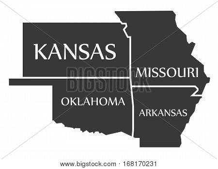 Kansas - Missouri - Oklahoma - Arkansas Map Labelled Black
