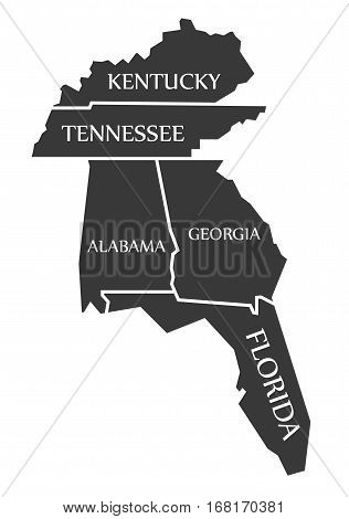 Kentucky - Tennessee - Alabama - Georgia - Florida Map Labelled Black