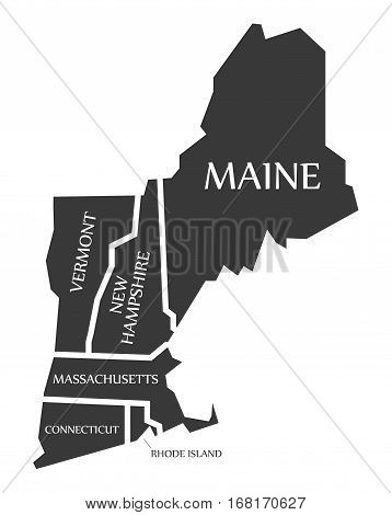 Maine - New Hampshire - Vermont - Massachusetts Map Labelled Black