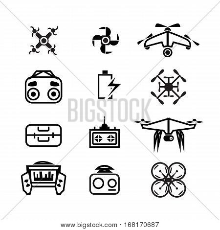 Drone icons set. quadrocopter, multicopter, line design. drone control, symbols collection. repair and service , isolated linear illustration