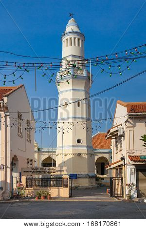 Minaret of the old Lebuh Aceh Mosque UNESCO heritage site in George Town Penang Malaysia.