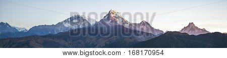Panorama mountain range in the morning Himalayas in Nepal