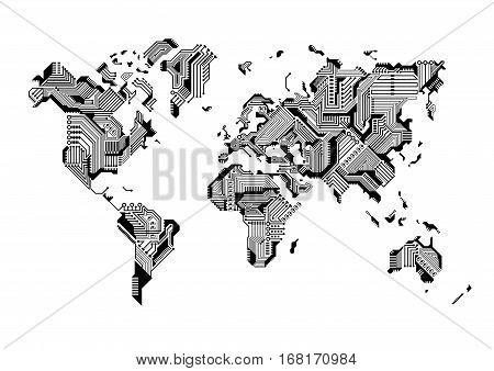 World Map Circuit Board Design Vector illustration