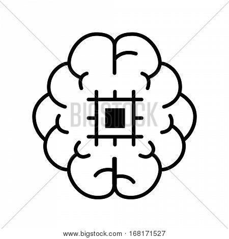artifical intelligence illustration design. Quality Outline Concept. Premium Mono Linear Beautiful Plain Laconic Logo. Vector Symbol