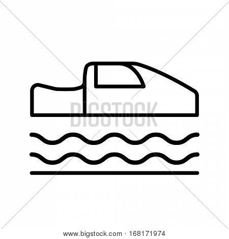 Symbol of Personal Hovercar Thin line Icon of Future Technology. Stroke Pictogram Graphic for Web Design. Quality Outline Vector Symbol Concept. Premium Mono Linear Beautiful Plain Laconic Logo