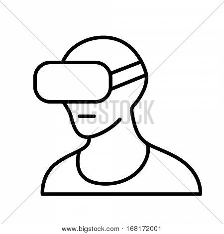 virtual reality headset, VR glasses line icon isolated on white, VR helmet icon, vr glasses, headset vector, virtual reality, vr pictogram, virtual reality headset round icon, vector illustration