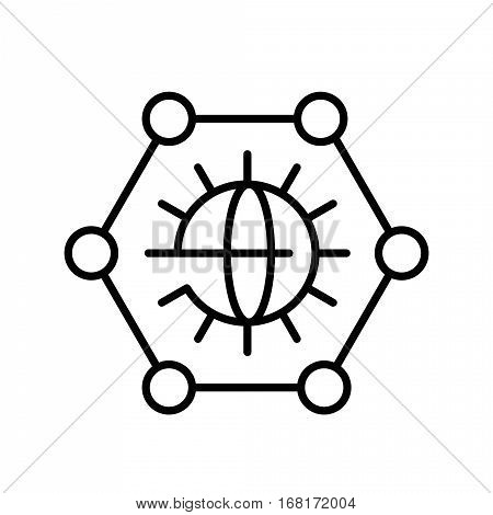 Vector outline classic grey graphene icon on white background . Science illustration