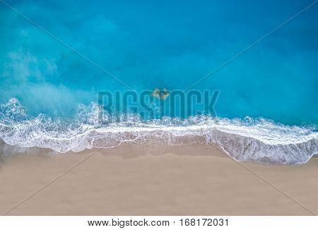 Aerial drone photo of Porto Katsiki beach with turquoise clear waters, Lefkada island, Ionian, Greece