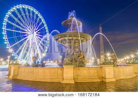 Fountain at Place de la Concord in Paris France