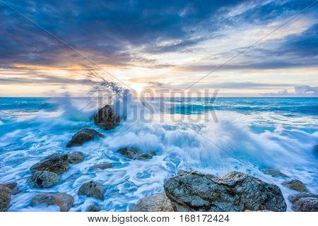 Pefkoulia beach in Lefkada Greece at sunset