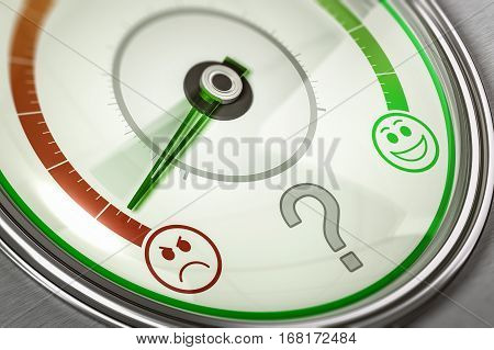 3D illustration of satisfaction feedback system with needle pointing the lower position. Business concept of customer dissatisfaction. Horizontal image.