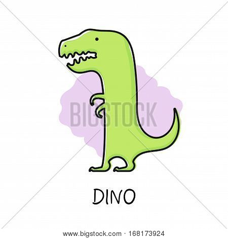 Vector illustration of cute funny dino. Flat hand drawn design.