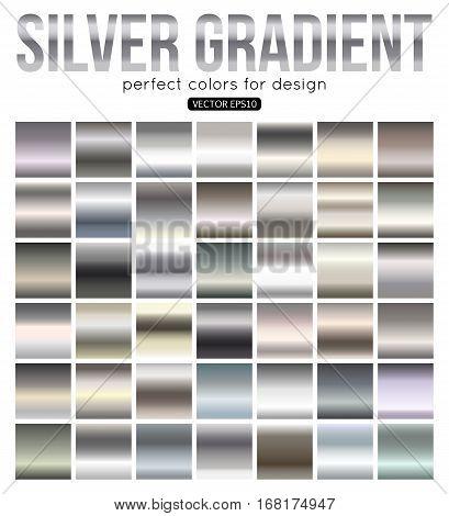 Set of silver gradients. Aluminum square vector texture.