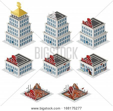 Bank building isometric set. Vector illustration. isometric city, isometric buildings, isometric office, isometric house