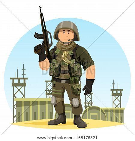 United states or US soldier in ammunition at camp or base. Military man or male with gun or rifle, helmet and ammo. Cartoon officer or infantry in camouflage, marine sergeant.