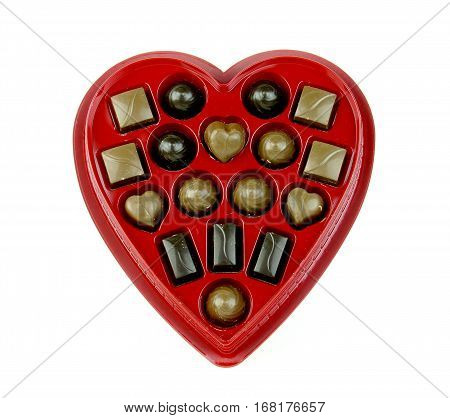Box of chocolate candy in a red heart shaped container