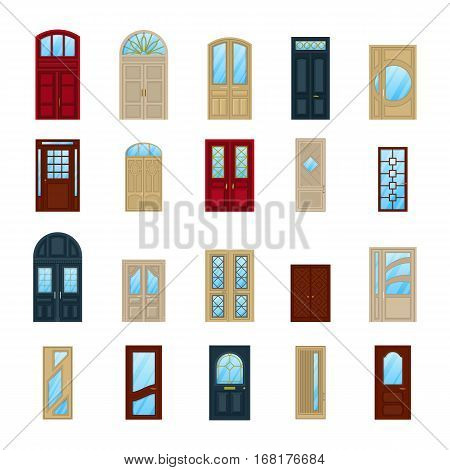 Home or house wooden or wood arch doors. Set of isolated entrance for building architecture, entry doorway or office exit with doorknob. Interior or exterior construction facade door
