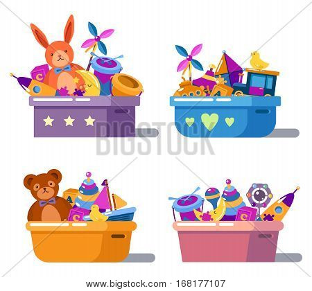 Kid or children cartoon toys in boxes. Teddy bear and ship, bird and alphabet cube, puzzle and rocket, drum and moon, maraca and whirligig or spinner, bucket and stars. Baby and childhood theme