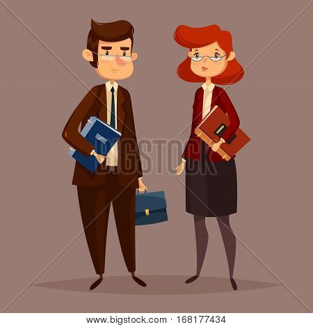 Financial worker and woman accountant. Man with document folder and female bank employee, finance paperworker with bills and debt payments, credit reports. Audit and office accounting theme