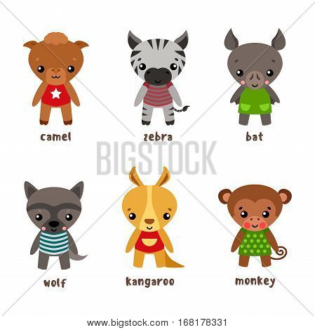 Bat and safari zebra, funny kangaroo and kid wolf, children monkey or ape, baby primate. Wood Bird and africa and australia animals with smiling faces in cloth. Zoo and child zoology book theme