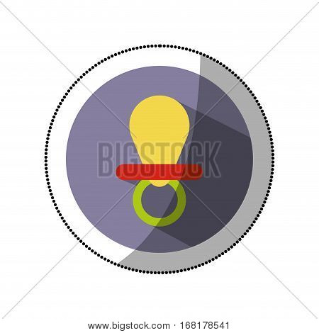 sticker color silhouette with baby pacifier in round frame vector illustration