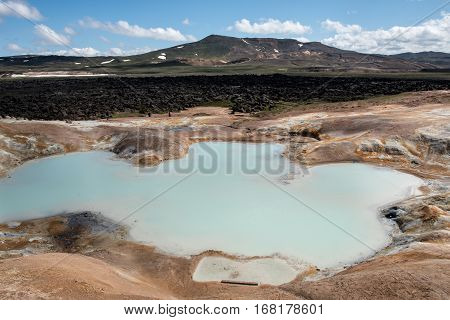 Sulfur springs on the stope of a hill in Leihnjukur geothermal area near the volcano Krafla Iceland
