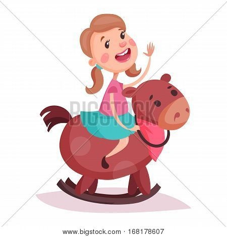 Cartoon little or small child or kid girl riding a wooden rocking horse. Kid in skirt smiling while sitting in saddle of carved pony animal on rockers. Childhood playing and fun preschool time theme