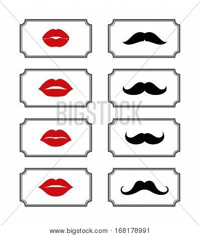 Ladies and gentlemen bathroom symbols. Vector lips and mustache. Female and male element illustration