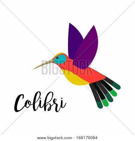 Exotic tropical bird isolated on white background. Colibri bird vector element with hand drawn inscription
