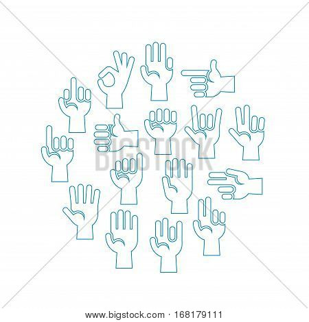 Hands gestures vector icons set in a circle. Illustration of arm gesture