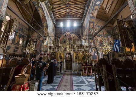Interior Of The Church Of Protaton In Karyes, Mount Athos