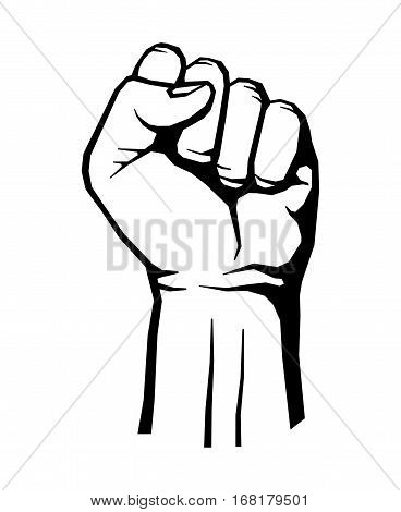 Protest, rebel vector revolution poster. Human clenched fist illustration