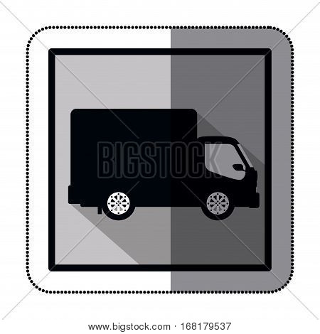 sticker silhouette transport truck with wagon and wheels  illustration