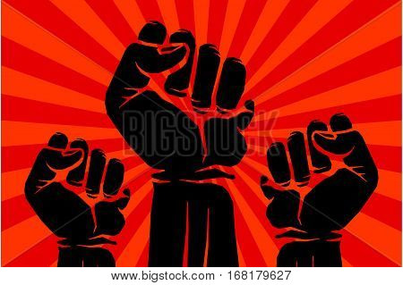 Protest, rebel vector revolution art poster. Banner power revolution illustration