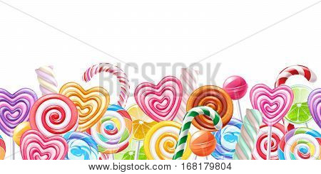 Lollipops candy border. Hard candies on stick. Seamless horizontal background.