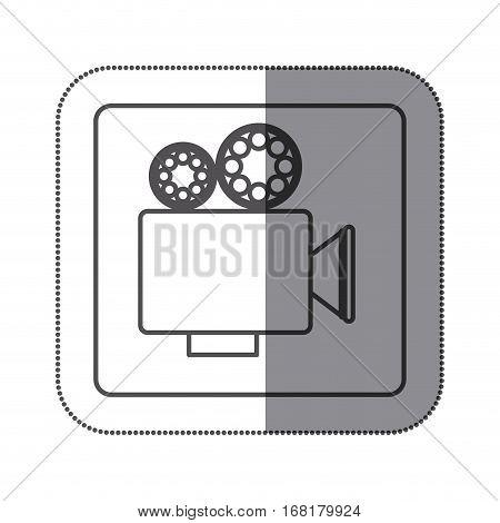 sticker silhouette square shape with retro movie projector vector illustration