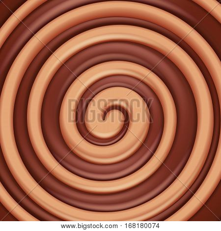 Toffee caramel and chocolate round swirl background. Sweet spiral candy.