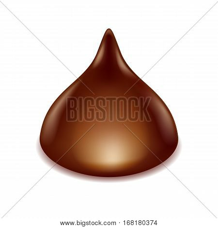 Chocolate truffle candy isolated on white background. Vector illustration.