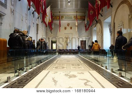 ROME ITALY - JANUARY 29 2017: People in the Aula Giulio Cesare Palazzo Senatorio is the seat of the Roman Council